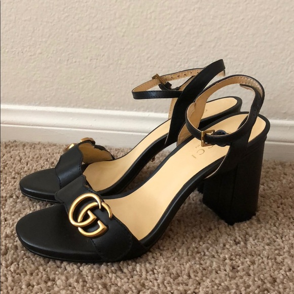24d5ad648b7 Gucci Shoes - Gucci Mid Heel Leather Sandals